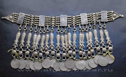 Афганская нашейная повязка-чокер с фигурками рыб. Афганистан, конец 20-го века,