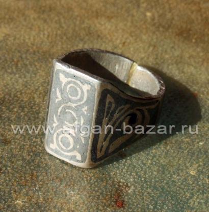 Афганское племенное кольцо с чернью