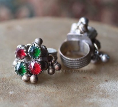 Афганский перстень с бубенчиками (Kuchi Tribal Ring with Dangles)
