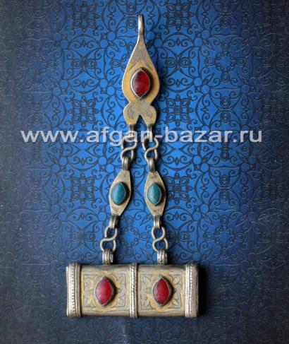 """Туркменская подвеска, височное украшение с амулетом  """"Тумар"""""""