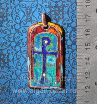 """Кулон """"Хризма"""" (раннехристианская символика). Медь, горячая перегородчатая эмаль"""