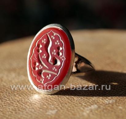 Иранский мужской перстень с сердоликом и каллиграфической надписью-зикром