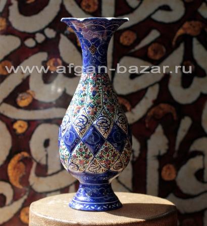 """Ваза в технике традиционной иранской горячей расписной эмали """"Мина"""" или """"Минакар"""