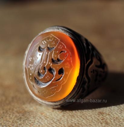 Иранский мужской перстень с йеменским сердоликом и каллиграфической надписью