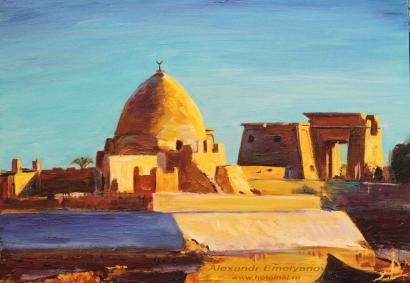 """Александр Емельянов. """"Мусульманская гробница на фоне храма Хонсу"""", Карнак, Египе"""