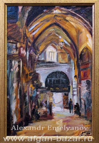 Александр Емельянов. Гранд базар (Стамбул). Картон, масло
