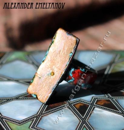 """Александр Емельянов. Кольцо """"Забытые руны"""". Медь, горячая эмаль"""