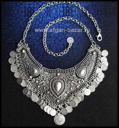 Колье в стиле Трайбл - Vintage Oriental Style Silver plated Turkish Tribal Boho