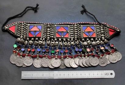 Афганская нашейная повязка-чокер - племенные украшения Кучи (Tribal Kuchi Jewelr