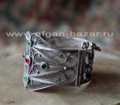 Марокканский серебряный браслет с филигранью