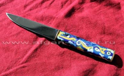 Нож, авторская работа.  Сталь, ковка, медная рукоятка, покрытая перегородчатой э