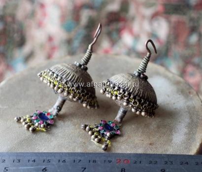 Старые племенные серьги - височные подвески (Kuchi tribal jewelry)