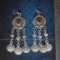 Серьги с монетами в стиле Трайбл - Oriental Ottoman Style Silver plated Turkish