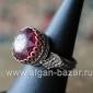 Бедуинский перстень с красным граненым стеклом. Йемен или Саудовская Аравия, 20