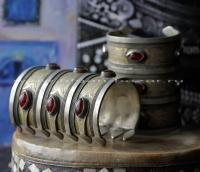 """Пара старых туркменских браслетов традиционной формы """"Билезик"""". Афганистан или Т"""