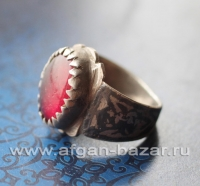 Афганский перстень с чернью и богемским стеклом (Kuchi Tribal Ring)