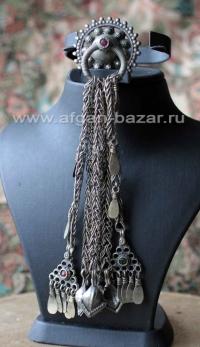 Афганская этническая подвеска - височное украшение на головной убор (без пары)