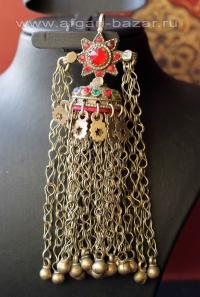 Афганская этническая подвеска с бубенчиками - височное украшение