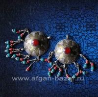 Пара серебряных подвесок в казахском стиле с сердоликом