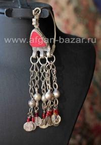 Афганская серьга-подвеска с бубенчиками - височное украшение (без пары)