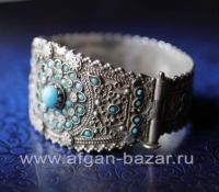 Старинный афганский браслет с бирюзой - племенные украшения Кучи