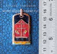 """Александр Емельянов. кулон """"Золото"""" (китайский иероглиф). Медь, горячая перегоро"""