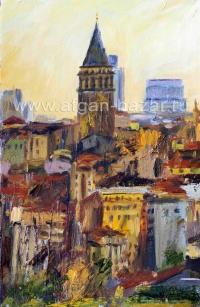 Александр Емельянов. Стамбул, вид Галаты со стороны Ункапаны, Холст, масло