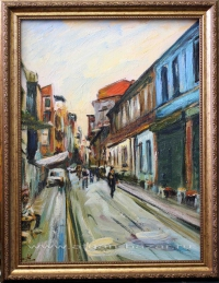 Александр Емельянов. İmrahor caddesi (улица в Стамбуле) Холст, масло  30/40 см 2