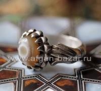 Винтажный иранский мужской перстень-талисман с глазковым агатом - Vintage Irania