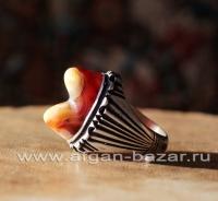 Винтажный иранский мужской перстень-талисман с глазковым агатом - Vintage men's