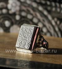 Иранский мужской перстень - талисман с гематитом и каллиграфической надписью - м