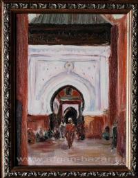 """Александр Емельянов. """"Марракеш, после  пятничной молитвы в  мечети Sidi Bel Abbe"""