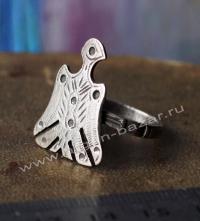 Старый берберский перстень-талисман с изображением птицы