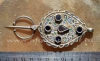 Старинная марокканская застежка-фибула с эмалью