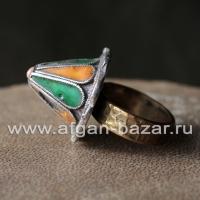 Марокканский перстень с горячей эмалью, сделанный из элемента старинного украшен