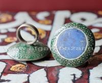 Антикварный коллекционный перстень с эмалью и лазуритом - Old collectible Multan