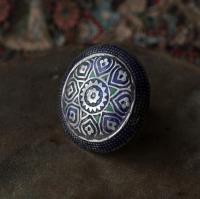 Традиционное мультанское кольцо с горячей эмалью - Old collectible Multan meenka