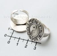 Кольцо из ювелирного сплава с символом Инь-Ян и знаками зодиака