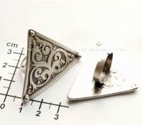Кольцо из ювелирного сплава с казахским орнаментом