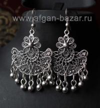 Турецкие серьги в стиле Трайбл - Vintage Oriental Ottoman Style Silver plated Tu