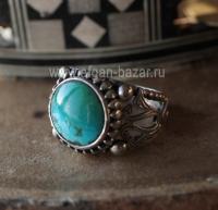 Турецкий серебряный перстень с бирюзой. Турция, современная работа