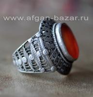 Уникальный филигранный перстень с сердоликом. Северный Афганистан (Узбеки). Перв
