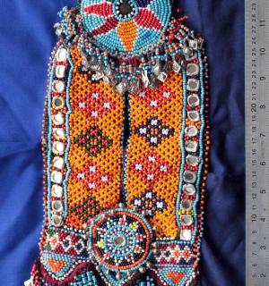 Плетеная бисерная подвеска - украшение для платья. Пакистан, народность Белуджи,