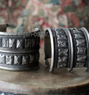 Пара туркменских племенных браслетов. Северный Афганистан, туркмены племени Йому