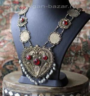 Узбекское филигранное колье - уникальное редкое украшение. Северный Афганистан,