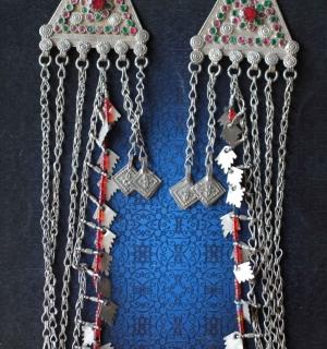 Пара афганских подвесок Sanrre (пушт.) - амулеты, височные украшения
