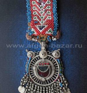 """Афганская подвеска """"Тикка"""" с полосой, вышитой бисером, деталь налобного украшени"""