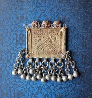 Старинная серебряная подвеска-амулет - племенные украшения Кучи
