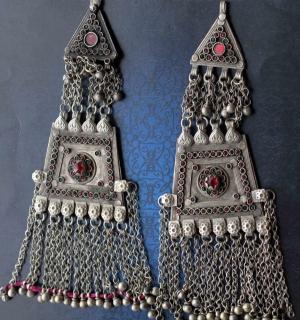 Афганские височные подвески.  Пакистан, Вазиристан, пуштуны племени Вазири