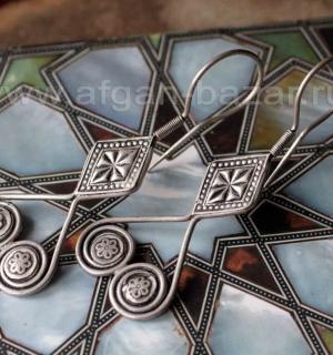 Серьги в казахском стиле. Afghan Vintage Kazakh Stile Tribal Earrings